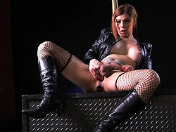 Jasmine bad girl biker slut. Dirty ladyboy Jasmine jerks & poses