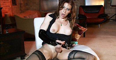 Vinyl gloves and steel analy toy. Libidinous TMILF Jasmine milking, toying & masturbating