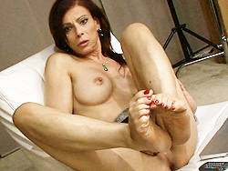 Jasmine solo couch. TS Jasmine posing her feet & rock violent penish